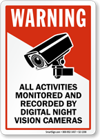 All Activities Monitored And Recorded Warning Sign