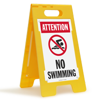 Attention No Swimming Floor Sign
