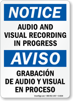 Bilingual Audio Visual Recording In Progress Sign