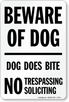 Beware Of Dog No Trespassing Soliciting Sign