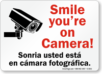 Smile You're On Camera Bilingual CCTV Sign