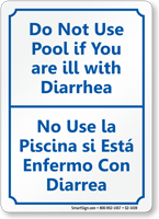 Bilingual Dont Use Pool when Diarrhea Sign