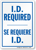 Bilingual I.D. Required Visitor Sign