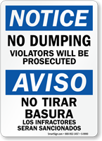 Bilingual No Dumping Violators Will Be Prosecuted Sign