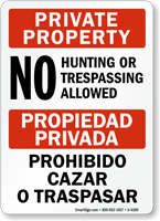 Private Property No Hunting Sign Bilingual