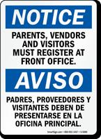 Bilingual Parents Vendors And Visitors Must Register Sign