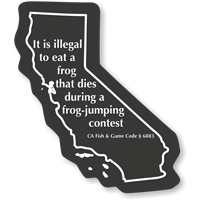 California Frog Safety Novelty Law Sign