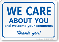 We Care About You, Thank You! Sign