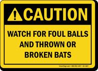 Caution Baseball Sign