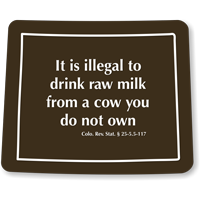 Colorado Cattle Safety Rules Law Novelty Sign