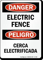 Danger Electric Fence Cerca Electrificada Sign