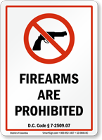 District of Columbia Firearms And Weapons Law Sign
