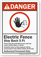 Electric Fence Authorized Personnel Only Danger Sign