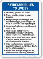 Firearms Rules To Live By Sign