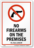 Florida Firearms And Weapons Law Sign