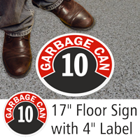 Garbage Can 10 Floor Sign & Label Kit