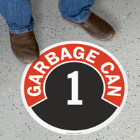 Garbage Can Floor Sign Choose from Garbage Can 1 to 10
