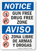 Gun Free Drug Free Zone Bilingual Sign