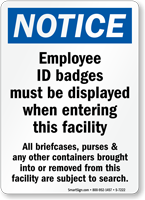 Employee ID Badges Must Be Displayed Notice Sign