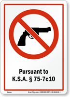 Kansas Firearms And Weapons Law Sign