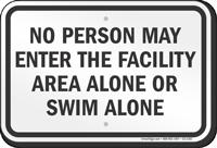 Kentucky No Person Swim Alone Sign