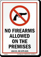Louisiana Gun Control Law Sign