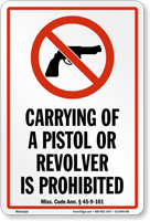Mississippi Firearms And Weapons Law Sign