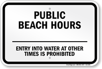 New York Public Beach Hours Sign