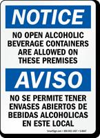 Bilingual No Alcoholic Beverage Sign