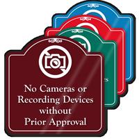 No Cameras Or Recording Devices ShowCase Sign