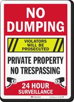 No Dumping Violators Prosecuted Surveillance Sign