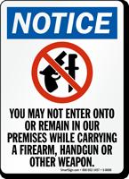 No Firearm, Handgun & Weapon In Premises Sign