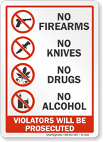 No Firearms Knives Drugs Alcohol Sign