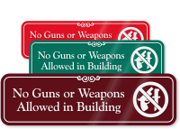 No Guns Or Weapons Allowed In Building Sign