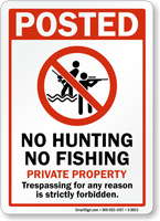 No Hunting No Fishing Private Property Sign