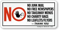 No Junk Mail Free Newspapers Takeaway Menus Sign