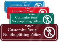 No Shoplifting Symbol Sign