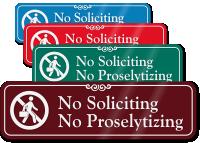 No Soliciting & No Proselytizing ShowCase™ Wall Sign