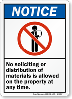 No Soliciting Or Distribution Allowed Notice Sign