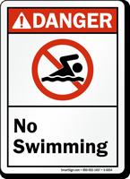 No Swimming ANSI Danger Sign