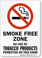 Use Of Tobacco Products Not Permitted Farm Sign