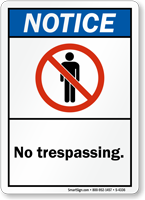 Notice Sign (ANSI): No Trespassing (with graphic)