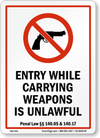 New York Firearms And Weapons Law Sign