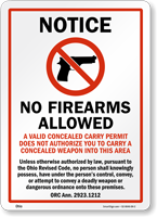 Ohio No Firearms Allowed Unless Authorized Sign