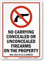 Oklahoma Firearms And Weapons Law Sign