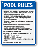 Pool Rules Sign for Oregon
