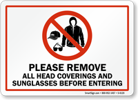 Please Remove All Head Covering Sign