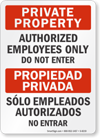 Private Property Authorized Employees Only Bilingual Sign