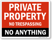 Private Property No Trespassing No Anything Sign