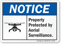 Property Protected By Aerial Surveillance Drone Sign